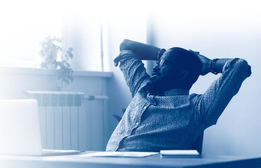 Man resting at desk