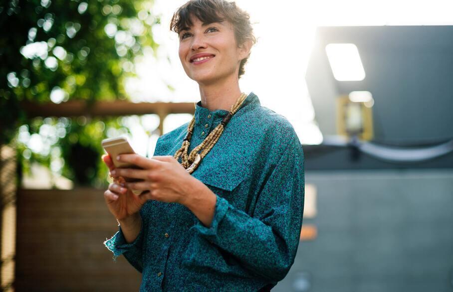 Woman holding phone